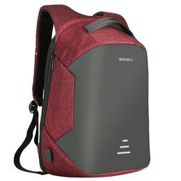 Wholesale Oxford Laptop Bag - BAIBU Men Backpack Anti-theft Waterproof USB Charging Design Laptop Backpack Student Boy School Bags For Teenagers Travel Bag