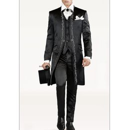 Wholesale Tuxedo Suits Men Printed Vest - Vintage Black Wedding Groom Tuxedos for Men Long Embroidery Three Piece Custom Made Men Suits (Jacket +Pants + Vest)