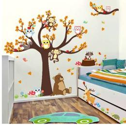 Karikatür Orman Ağacı Şubesi Hayvan Baykuş Maymun Ayı Geyik Duvar Çıkartmaları Çocuk Odaları Için Erkek Kız Çocuk Yatak Odası Ev Dekor cheap owl monkey room decor nereden baykuş maymun odası dekor tedarikçiler