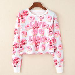krapfen-sweatshirt Rabatt 2018 Harajuku Sweatshirt Frau Mädchen Bauchfreies Oberteil Cartoon Donut Printing Short Sweatshirt