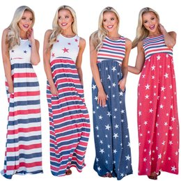 Wholesale National Flowers - American Independence Day Dresses Red Striped Blue Stars Fashion National Flags Print Elastic Waist Colors Sleeveless Women Dress