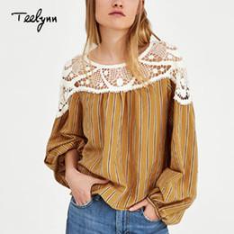 9d12e63a928 TEELYNN Boho cotton   linen blouse Yellow stripes top v-Neck long sleeves  Stitching lace Bohemia Hippie chic women blouses shirt