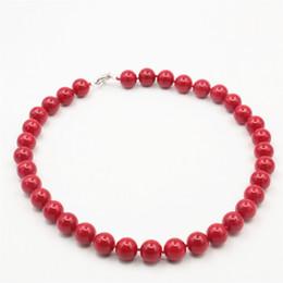 Wholesale Perline gioielli accessorio alla moda mm collana di corallo rosso palle all ingrosso fai da te ragazze donne regali ornamenti fatti a mano femminile pollici