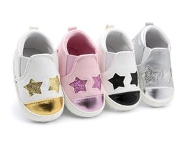 Wholesale sequin shoes for girls - 2017 Hot sale pu leather bling sequins stars baby shoes moccasins Infant Toddler boys girls first walkers sneakers for 0-18M