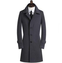 2019 trench pour homme xs Casual manteau en laine à poitrine simple hommes trench-coat manteau mens manteau en cachemire casaco masculino angleterre noir kaki gris 9XL trench pour homme xs pas cher