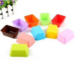 Wholesale Wholesale Muffin Pans - Rectangle Silicone Small Loaf Pan Silicone Muffin Baking Cups Cupcake Cake Mold 7.6*5.5*2.8cm ZA5743