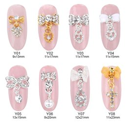 Wholesale nails accessories 3d metal - 50pcs gold silver metal glitter 3d nail art bow tie dangle chain heart Crystal rhinestone nail charms decoration accessories supplies Y01~08
