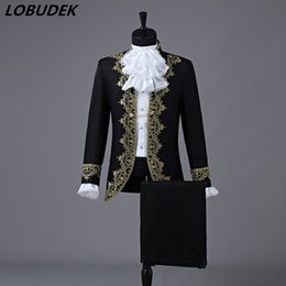 мужские костюмы красные Скидка European Style Men's Court Suit Red Black White Embroidery Suits Wedding Dresses Singer Chorus Photographic Studio Show Costume