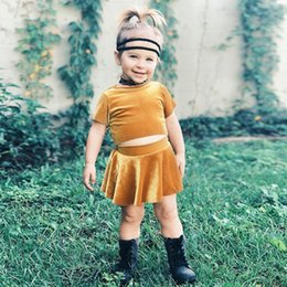 Wholesale Long Skirts Tall - Little kids outfits baby girls stripe Tall waist short sleeve T-shirts + pleuche mustard pleated skirts 2pcs sets summer baby suits A8537