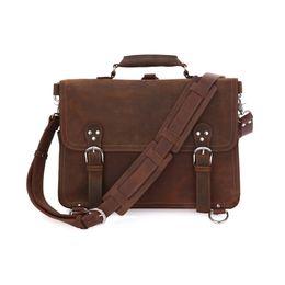 Wholesale Lighted Horse - Rare Crazy Horse Leather Men's Brown Business Briefcase Laptop Totes Bag Dispatch Cross-body Shoulder Messenger Huge 16 inch