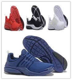 Wholesale Fine Fabrics - Original 2018 Running Shoes Fine Mesh Breathable Presto Blackout Cheap Sneaker Red Navy Blue Triple White Black Fall Olive