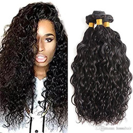 wavy permed hair Coupons - Brazilian Wet And Wavy Virgin Hair 3Bundles 100% Human Hair Weave Bundles Unprocessed Water Wave Hair Natural Color
