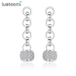 Wholesale Office Earrings - LUOTEEMI Office Female Geometric Cubic Zirconia Ball Silver Color 4 Loops Statement Drop Earrings for Women Boucles Doreilles