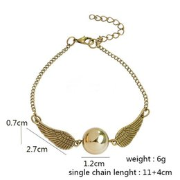 Wholesale Antique Wings - New Fashion Vintage Woman Lady Silver antique Wing Harry Gold Golden Snitchbracelet &Pendants The Deathly Hallows Snitch Gold bracelet