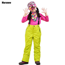 Wholesale Warm Pants For Kids - Wholesale- Skiing trousers winter Thicken boys girls kids windproof waterproof warm outdoor sport snow snowboarding pants for children