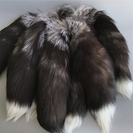 "Wholesale Toy Man Women - 10pcs 16""-100% Real Genuine Silver Fox Fur Tail Cosplay Toy Keychain keyring Handbag Accessory"