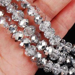 14mm weißes kristallarmband Rabatt 1000PCS Großhandel 4x6mm Silber AB Swarovski Kristall Edelstein Lose Perlen Perle