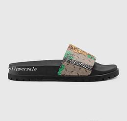 Trek green on-line-Mens moda tigre verde e árvore impressão trek deslize sandálias flip flops com sola de borracha grossa