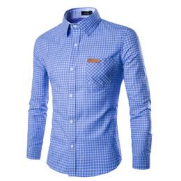 Estilos masculinos do colar da camisa on-line-2018 Outono Homens Camisas Casuais de Algodão Turn Down Collar Inglaterra Estilo Xadrez Camisa Masculina Botão Para Baixo Camisas para Homens