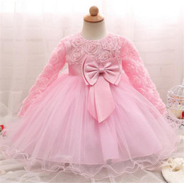 Wholesale Big White Tutu - Kids Clothing Girls Dresses Princess Tutu Skirt Flower Lace Long Sleeve Big Bow High Quality Children Clothes B11
