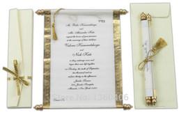 Rouleaux de soie en Ligne-2016 Parchemin Invitations De Mariage Carte En Gros De Fête De Mariage Or Blanc soie De Luxe Royal De Mariage Invitations avec boîte