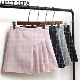 Wholesale Pleated Skater Mini Skirt - New 2018 Spring Summer Women A-Line Pleated Preppy Style Empire Mini Plaid Girls Skirt Saia High Waist Skater Skirt SK3907