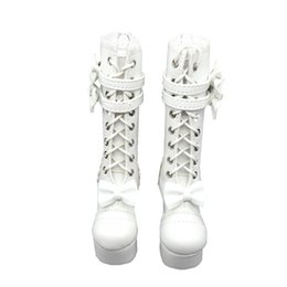 Wholesale Lolita High Heels - Tilda 1 4 Doll Boots Lolita Style High Heel BJD Doll Shoes,White Lace Up Toy Boot For BJD Dolls,High Quality Accessories