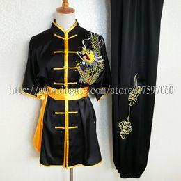 Rotinas de exercícios on-line-Roupas de kungfu chinês wushu uniform taichi garment desempenho de rotina terno exercício nanquan outfit para menino homens crianças mulheres menina crianças