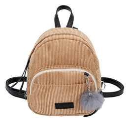 d14b9f539f96 Mini Women Backpacks Solid Fashion School Bag For Teenage Girls Fur Ball  Solid Color Corduroy Back Pack Candy Color Travel Bags