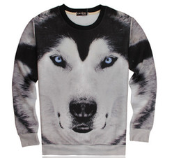 Wholesale Wolf Print Hoodies - Eur Fashion Brand Streetwear Clothing 3D Wolf Printed Hoodies Plus Size S-XL Male Pullover Soft Top