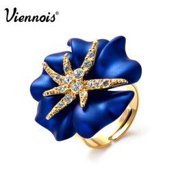 Argentina Viennois oro color noche estrellada anillo de cóctel de flores cristales de lujo anillos ajustables para mujeres Suministro