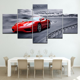 modern sports oil paintings UK - The red sport car 5 piece Wallpapers modern Modular Poster art Canvas painting for Living Room Home Decor