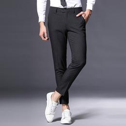 Wholesale Slim Fit Business Pants - Casual Men Formal Pants Slim Fit 29-36 Size Luxury Trouser Suit Stripe Suits Business Casual Men Formal Pants Slim Fit 9330B