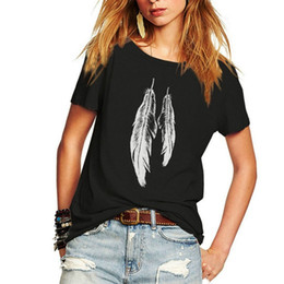 Wholesale Juniors Tees - Summer Woman T Shirt Street Style Feathers Printed Short Sleeve T-Shirt Casual Loose Lady Tops Juniors Tees
