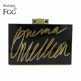 Wholesale Acrylic Box Clutch Purse - Boutique De FGG Vintage Bronze Wordart Letters Women Black Acrylic Evening Purse Clutch Bag Fashion Box Day Clutches Handbag