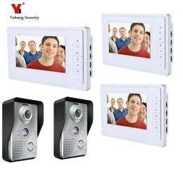 2019 home-video-telefon-systeme Yobang Sicherheit 3 * 7 Zoll Wired Video Türklingel Telefon System Video Gegensprechanlage Home Security Video Intercom 2 Kamera günstig home-video-telefon-systeme