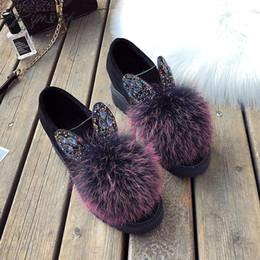 Botas de pele on-line-RIMOCY sapatos de plataforma mulher ankle boots foor mulheres bola de pêlo flat botas mujer rebanho dedo do pé redondo sapatos casuais senhoras de cristal botines
