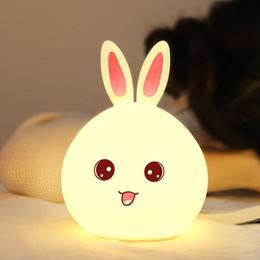 2019 lâmpadas de coelho bonito Coelho bonito LEVOU Luz Da Noite Do Bebê Crianças Quarto Lâmpada Multicolor LEVOU Lâmpada de Coelho Casa Decorativa Recarregável LEVOU Luz Da Noite lâmpadas de coelho bonito barato