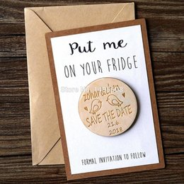 Wholesale Personalize Wedding Favors - Wholesale-Personalized Wooden Save the Date Magnets, Rustic Wooden Magnets, Wedding Favors with Birds, Fridge Magnet, Wedding Invitation