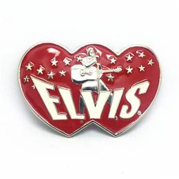 Wholesale Music Musicians - Cowboy, heart-shaped music cowboy musicians zinc alloy belt buckle ELVIS belt buckle 4.0