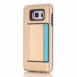 Carte de crédit couvre le plastique en Ligne-Couverture de cas de carte de crédit antichoc hybride couvrir pour Samsung Galaxy Note 5 N9200 Cas de téléphone plastique GEL TPU + PC retour dur Shell