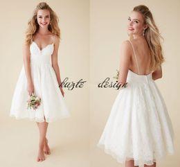 Wholesale Camo Mini Skirt - 2018 Cute Short Beach Wedding Dresses V Neck Spaghetti Straps Knee Length Sexy Backless Wedding Gowns Organza Lace Bridal Dresses