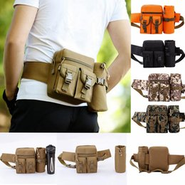 Wholesale martial arts material - Unisex Travel Water Bottle Waist Bag Casual Adjustable Nylon Material Military Kettle Outdoor Waist Bag EEA23 20pcs