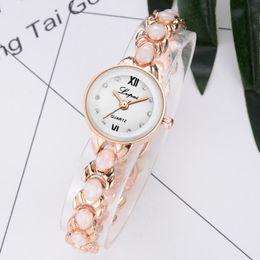 2019 relógio de pulseira chapeada lvpai mulheres liga pulseira de decoração rodada dial banhado a quartzo analógico pulseira relógio de pulso relógio de pulseira chapeada barato