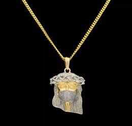 Wholesale Jesus Head Jewelry - 2018 New Arrivel Hip Hop Christ 24K Gold Plated Jesus Head Charm Pendant Religious Catholic Jesus Face Piece Pendant Jewelry