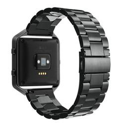 Bracelets de bande de métal en Ligne-1: 1 liens de conception en métal d'origine pour fitbit blaze montre bande de tracker bande de montre réglable bracelet bracelet noir