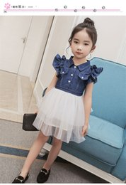 Wholesale Denim Lace Vest - Vieeolove Baby Girls Lace Tutu 2018 New Spring Summer Dresses Childrens Sleeveless for Kids Clothing Flower Denim Vest Dress B11