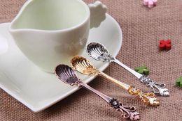 Wholesale Vintage Ice Cream Spoons - Vintage Alloy Coffee Spoon Crown Palace Carved Dining & Bar Tableware Small Tea Ice Cream Sugar Cake Dessert Dinnerware Spoons Scoop