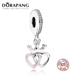 DORAPANG 100% 925 Sterling Silver Crowned Corações Dangle Charme Orquídea Rosa Esmalte Pingente Bead Para A Mãe Presente Pulseira DIY de