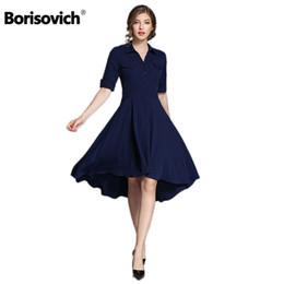 Wholesale Half Sleeves Night Dresses - Borisovich High Quality Blue Women Dress New Arrival 2018 Spring Summer Fashion Half Sleeve Turn-down Collar Female Dress M190